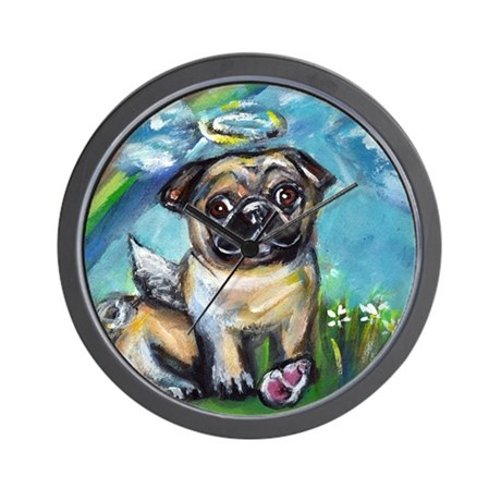 Pug angel dog with pink kon Wall Clock