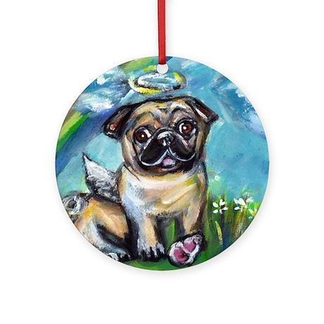 Pug angel dog with pink kon Ornament (Round)