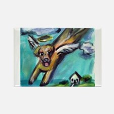 Yellow Labrador angel flys fr Rectangle Magnet
