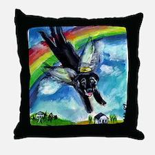Black Labrador flys free Throw Pillow