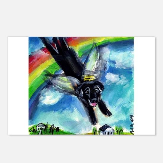 Black Labrador flys free Postcards (Package of 8)