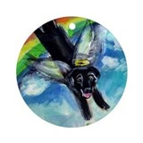Black labrador angel Round Ornaments