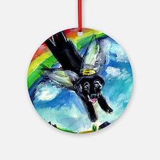 Black Labrador flys free Ornament (Round)