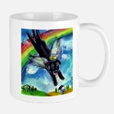 Black Labrador flys free Mug