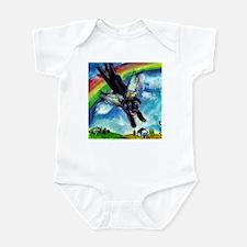 Black Labrador flys free Infant Bodysuit