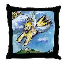 Wheaten terrier angel flys fr Throw Pillow