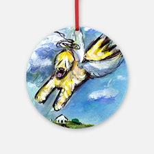 Wheaten terrier angel flys fr Ornament (Round)