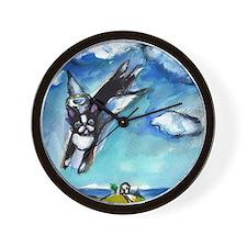 Boston Terrier angel flys fre Wall Clock