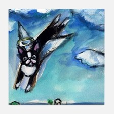 Boston Terrier angel flys fre Tile Coaster