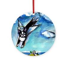 Boston Terrier angel flys fre Ornament (Round)