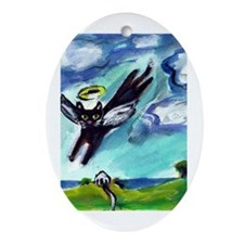 Black cat angel flys free Oval Ornament
