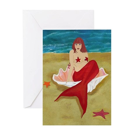Mermaid In A Shell Greeting Card