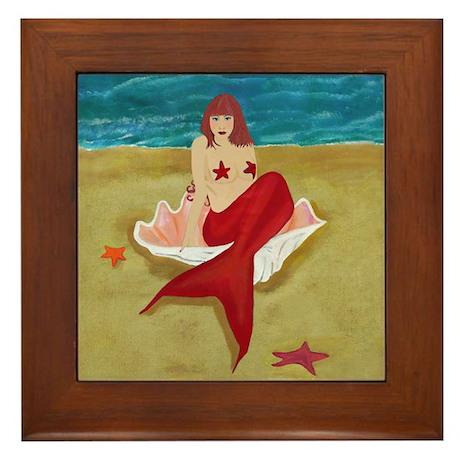 Mermaid In A Shell Framed Tile