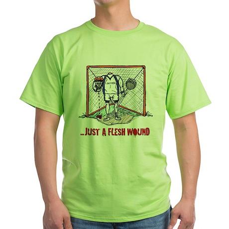 Lacrosse Goalie Fleshwound Green T-Shirt