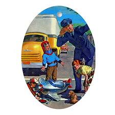 Police & Children Oval Ornament