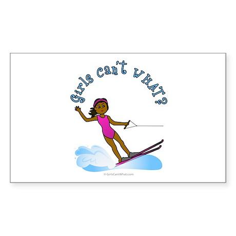 Dark Water Skier Rectangle Sticker
