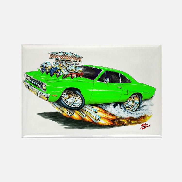 1970 Roadrunner Green Car Rectangle Magnet (10 pac