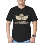 Forensic Anthropology Men's Fitted T-Shirt (dark) - Forensic anthropology gifts and apparel with a winged skull and floral background on graphic t-shirts, tees, stickers, mugs, buttons and more gifts for a forensic anthropologist or Bones fan. - Availble Sizes:Small,Medium,Large,X-Large,2X-Large (+$3.00) - Availble Colors: Kelly Green,Black,Asphalt,Royal,Navy,Red,Heather Grey,Olive,Orange,Forest,Cranberry,Teal,Army,Eggplant