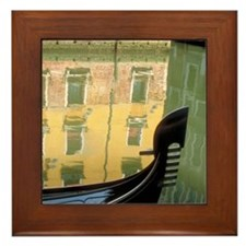 Italy Framed Tile: <br> Gondola with reflection