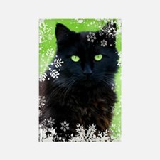 BLACK CAT & SNOWFLAKES Rectangle Magnet