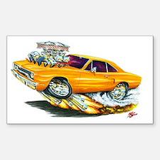 1970 Roadrunner Orange Car Rectangle Decal