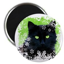 BLACK CAT & SNOWFLAKES Magnet