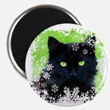 BLACK CAT & SNOWFLAKES Magnet