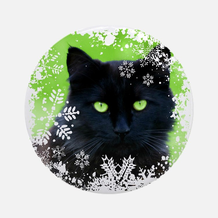BLACK CAT & SNOWFLAKES Round Ornament