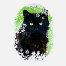 BLACK CAT & SNOWFLAKES Oval Ornament
