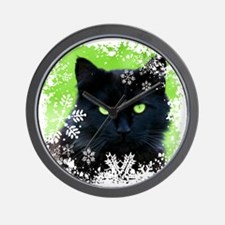 BLACK CAT & SNOWFLAKES Wall Clock
