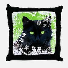 BLACK CAT & SNOWFLAKES Throw Pillow