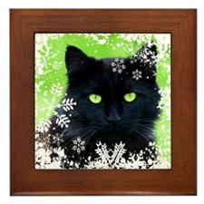 BLACK CAT & SNOWFLAKES Framed Tile