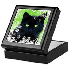 Black Cat & Snowflakes Keepsake Box
