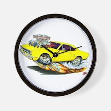 1970 Roadrunner Yellow Car Wall Clock