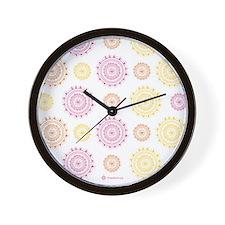 Flower Doilies Wall Clock Black Frame