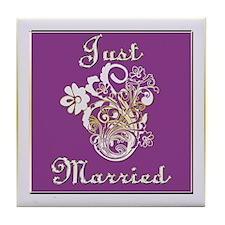 Purple Floral Wedding Invitation Set Tile Coaster