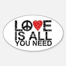 Love Is All Oval Decal