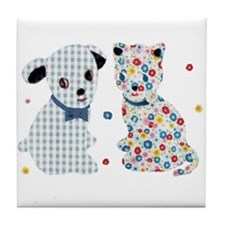 GINGHAM DOG AND CALICO CAT Tile Coaster