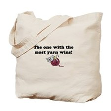 One With Most Yarn Wins Tote Bag