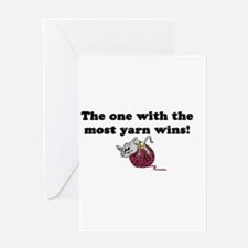 One With Most Yarn Wins Greeting Card