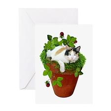 Flowerpot Cat Greeting Card