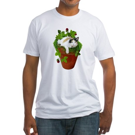 Flowerpot Cat Fitted T-Shirt