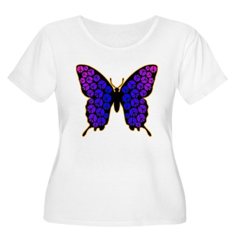 Peace Butterfly Women's Plus Size Scoop Neck T-Shi