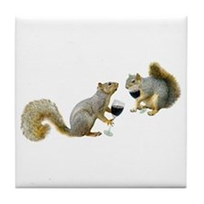 Squirrels Drinking Wine Tile Coaster