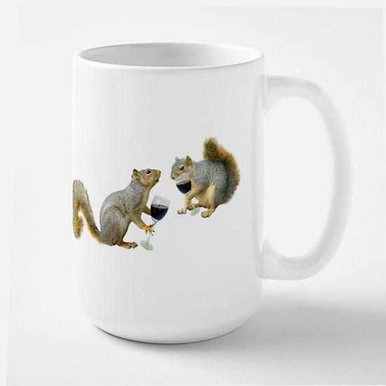 Squirrels Drinking Wine Large Mug