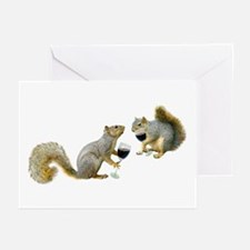 Squirrels Drinking Wine Greeting Cards (Pk of 20)