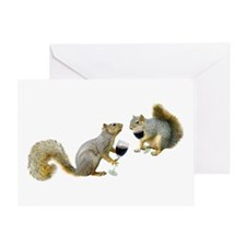 Squirrels Drinking Wine Greeting Card