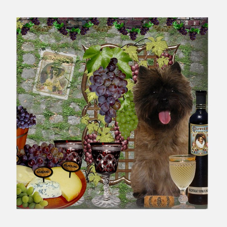 Cairn Terrier Winery Tile Coaster