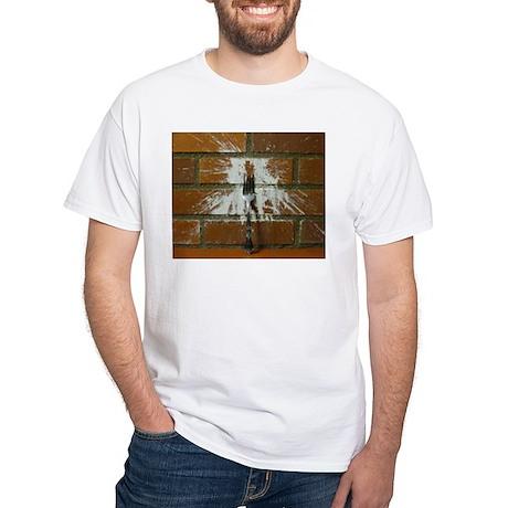 Fork Plastered on Brick Wall White T-Shirt