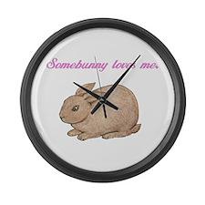 Somebunny (pink) Large Wall Clock